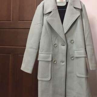 淺綠毛呢雙口袋大衣外套
