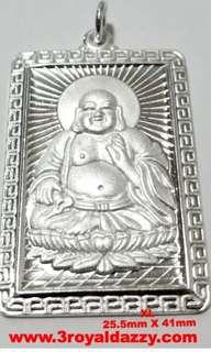 XL Happy Male Buddha 999 fine Solid Heavy Silver Rectangle Meditation Pendant
