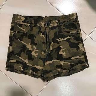 Highwaisted Camo Print Shorts