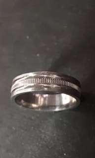 14k White Gold Layer On Sterling Silver Wedding Edged Design ring Band