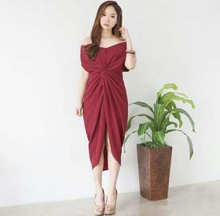 Draperry Dress Red
