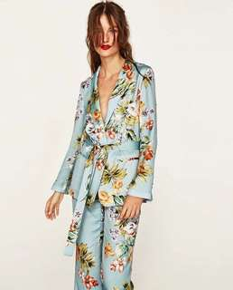 Floral Pajama Suit Blazer and Pants