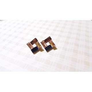 方塊水晶耳環