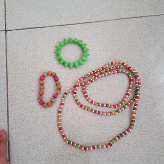 Kalung colorful gelang set paket