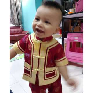 Chinese New Year Baby Boy Red Cheongsam -