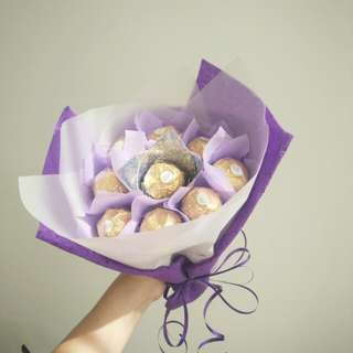 Purple Ferrero Rocher Chocolate Bouquet