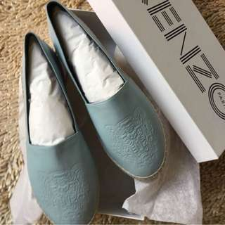 Brand New Authentic KENZO Tiger Espadrilles Leather Blue