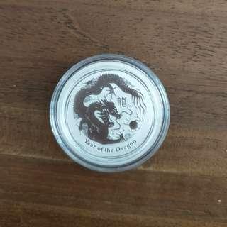 2012 1/2oz Silver dragon coin - Perth Mint