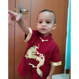 Chinese New Year Baby Boy Red Cheongsam - Gold