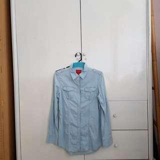 Kemeja cardigan lengan panjang denim jeans light blue