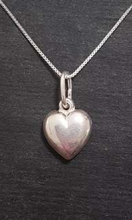 Anti tarnished 925 Sterling Silver Reflect Heart Pendant Charm with free chain
