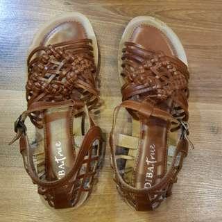 Brown Woven Huarache Sandals
