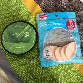 Aloe Vera moisturizer + 5pcs makeup sponge