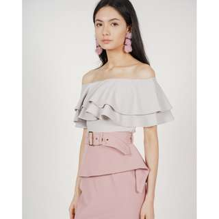 MDS Flounce Layer Top in Moonstone