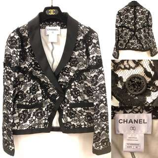 Nearly New Chanel black lace jacket size 40