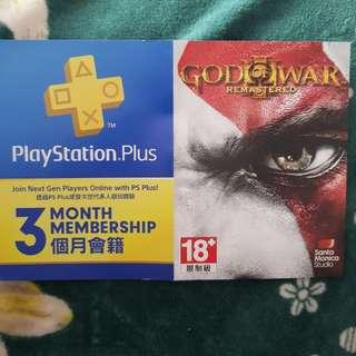 Playstation plus 3 bulan + God of War III Remastered