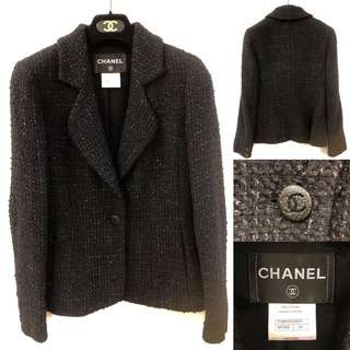 Chanel black tweet jacket size 34