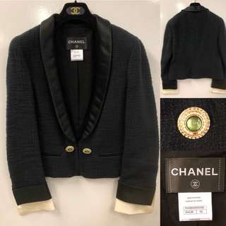 Nearly New Chanel black jacket with gems buttons size 40