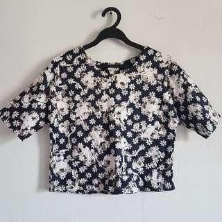 Textured Floral Crop Top