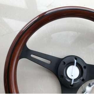 [PO} wooden retro look steering wheel