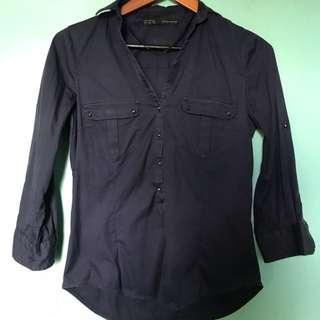 3/4 Sleeve Dark Blue Blouse