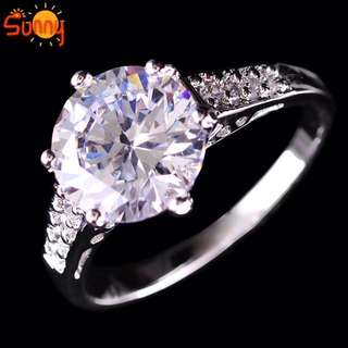 Crystal and white gold plated ring