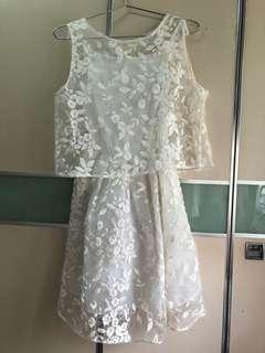 日系歐根紗刺繡兩件套連身裙