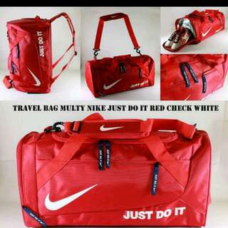 Tas travel nike just do it merah putih | tas bola travel nike | travel bag nike | tas traveling nike | travelbag nike | tas pergi