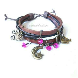 Multi-Leather Brown Bracelet with Charms
