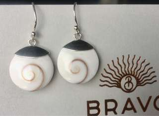 Sterling silver and shell small dangle earrings