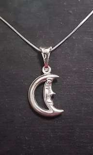 Anti Tarnished 925 Sterling Silver Mr. Moon Charm Pendant with free chain