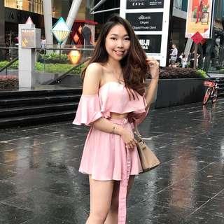 Jumpsuit velvet pink summer
