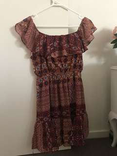 Ava size 8 boho off shoulder dress