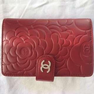 Chanel Red Camellia Medium Wallet