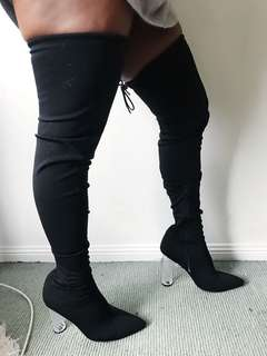 THIGH HIGH ~ CLEAR HEELED ~ LATEX BOOTS