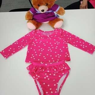 Pink polka dots rashguard