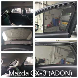 Original ADON Shades Custom Fit Magnetized Sunshades on Mazda CX-3 2017 6 Pieces and Rear Windscreen. Made In Taiwan. Not imitation.