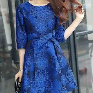 Elegant Fashion Jacquard Floral Tying Waist Dress - ON/HYC122916
