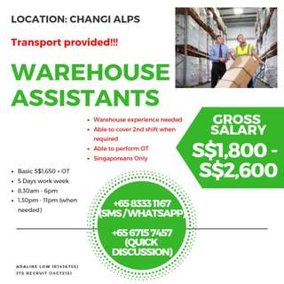 Warehouse / Operations Assistants (UP $2600 / Changi Alps)
