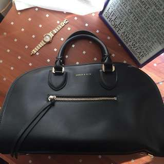 Charles & Keith Black Structured Bag