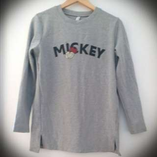 【照價50%】(made in korea) 淺灰米奇老鼠長身上衣韓國製造 light grey gray mickey mouse long top minnie disney D