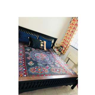 King size bed with mattress, cupboard, oven and other