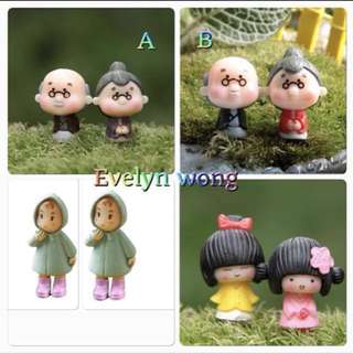 ☘ Terrarium Accessories / Miniature / scrapbooking, gardening deco, photo frame deco, home deco, figurine etc - Rain Coat Girl, Kimono Girl, GrandPa & GrandMa