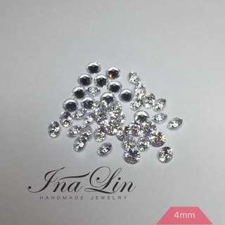 2mm 3mm 4mm CZ raw / gemstone / cubic zirconia / craft / jewel / clear / hearts and arrows / 人工鋯石 鋯石 白鑽 裸鑽 手工 手作 鑲鑽 八心八箭 鑽石 珠寶