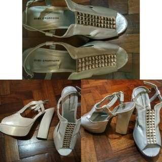 Gibi white high heeled sandals