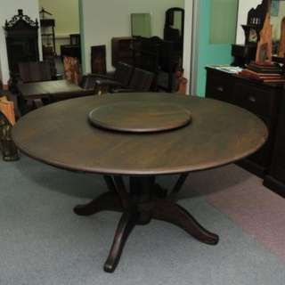 Authentic Burma Teak Wood Round Dining Table with Lazy Susan