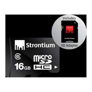 STRONTIUM MICROSDHC CLASS 6 16GB WITH ADAPTER