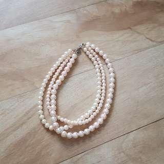 Kalung mutiara putih pink 3 rantai