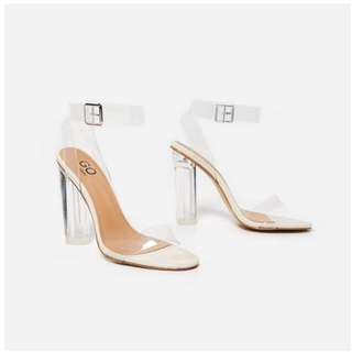 NEW Ariana Strappy Heels in Clear Perspex