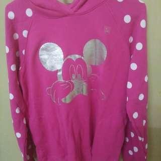 Uniqlo mickey pink long sleeve sweather with hoodie